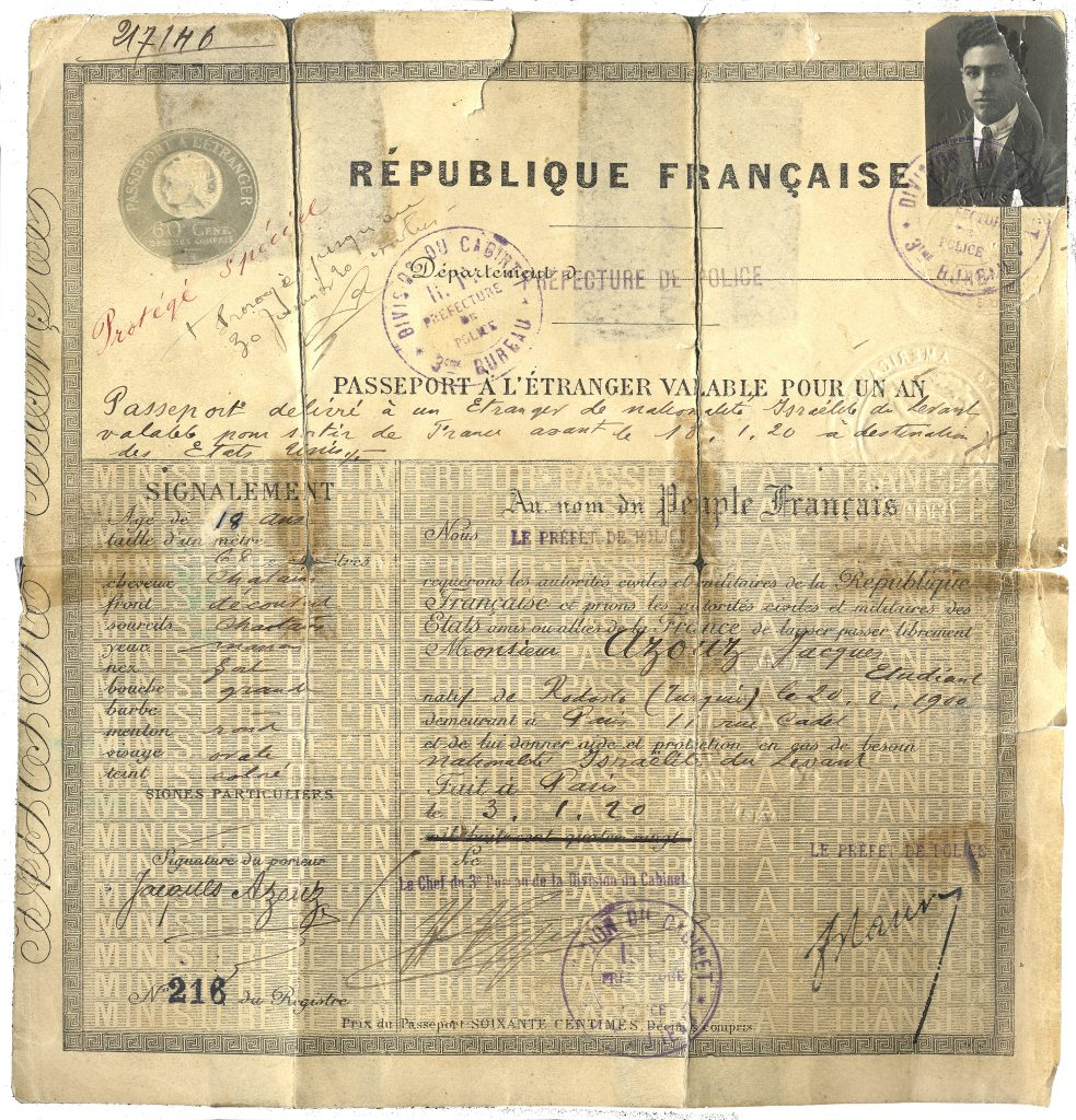 Jack Azose's Parisian travel document with his photo at top right.