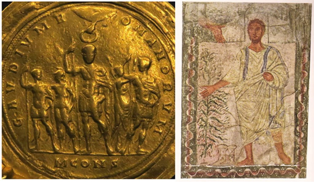 Golden coin showing men holding spears; mosaic of Moses next to a bush