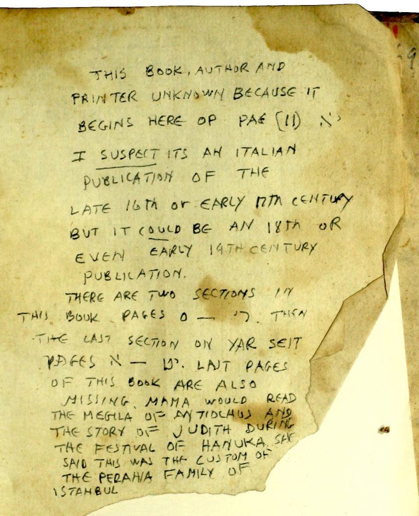 Albert Adatto's handwritten notes.