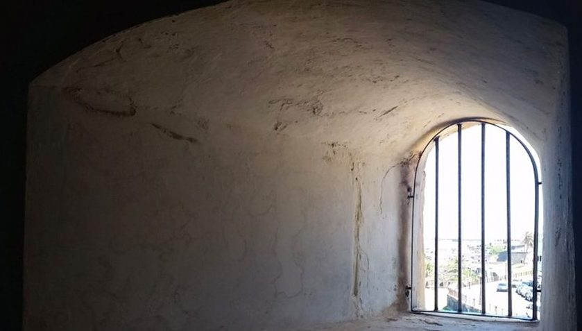 Barred window of a prison cell