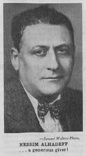 Black and white newspaper clipping of Nessim Alhadeff. Caption reads:
