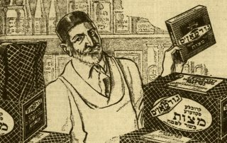 Illustration of man with a hat and apron holding up a box of Goodman's matsa.