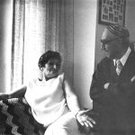 Black and white photo of Jack and Louise Azose at home in Seattle.