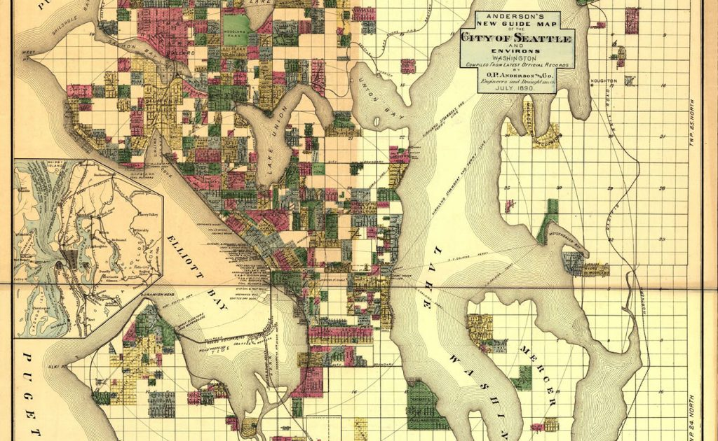 Historic map showing the city of Seattle in 1890