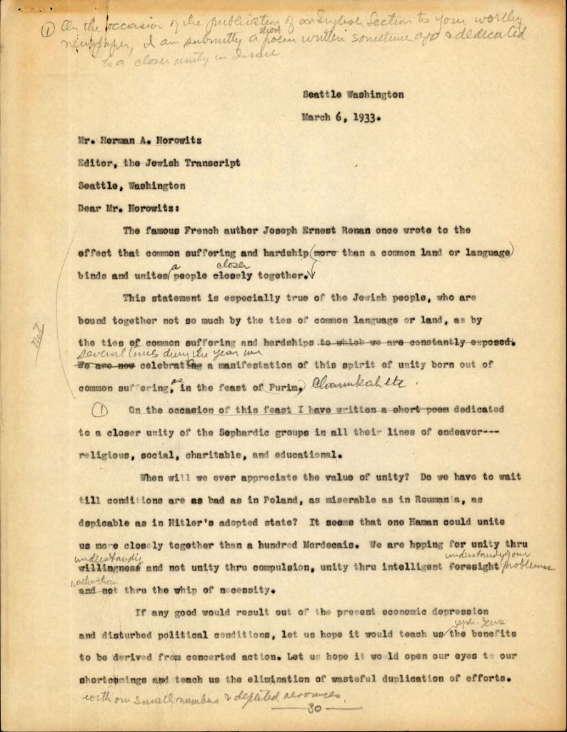 Typed letter from Henry Benezra to the editor of the Jewish Transcript. Includes handwritten editorial comments and marks from Benezra.