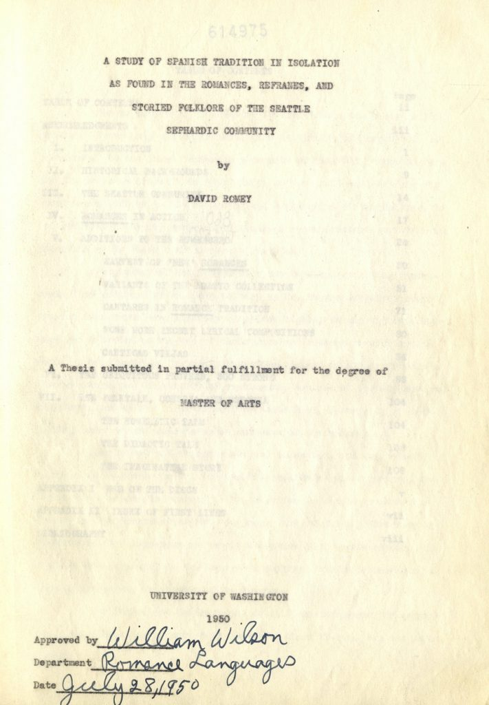 Cover of David Romey's master's thesis.