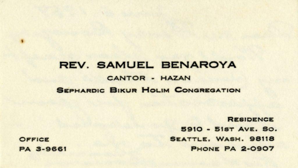 Reverend Samuel Benaroya's business card.