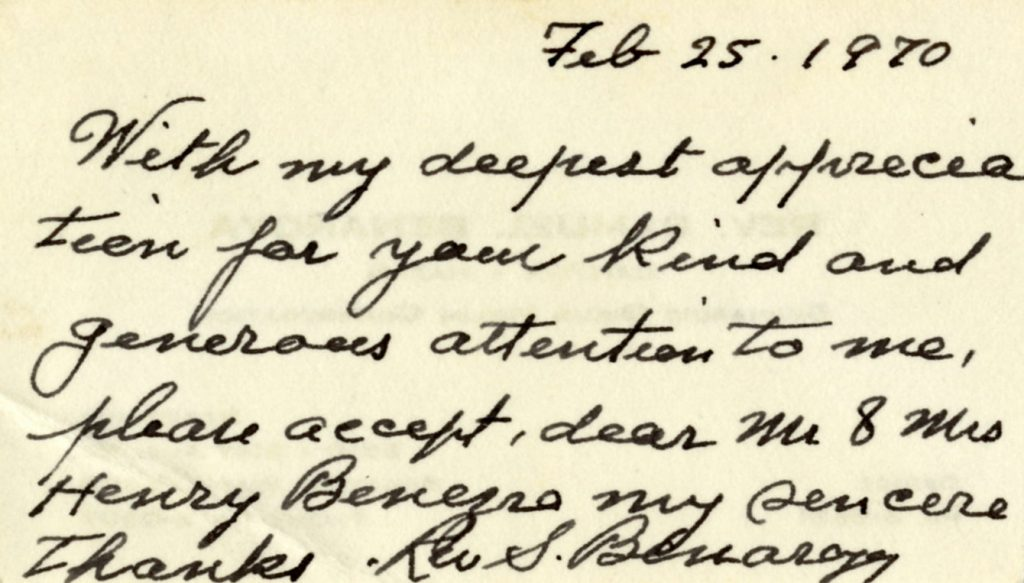 Handwritten note in English cursive on the back of Reverend Benaroya's business card in black ink.