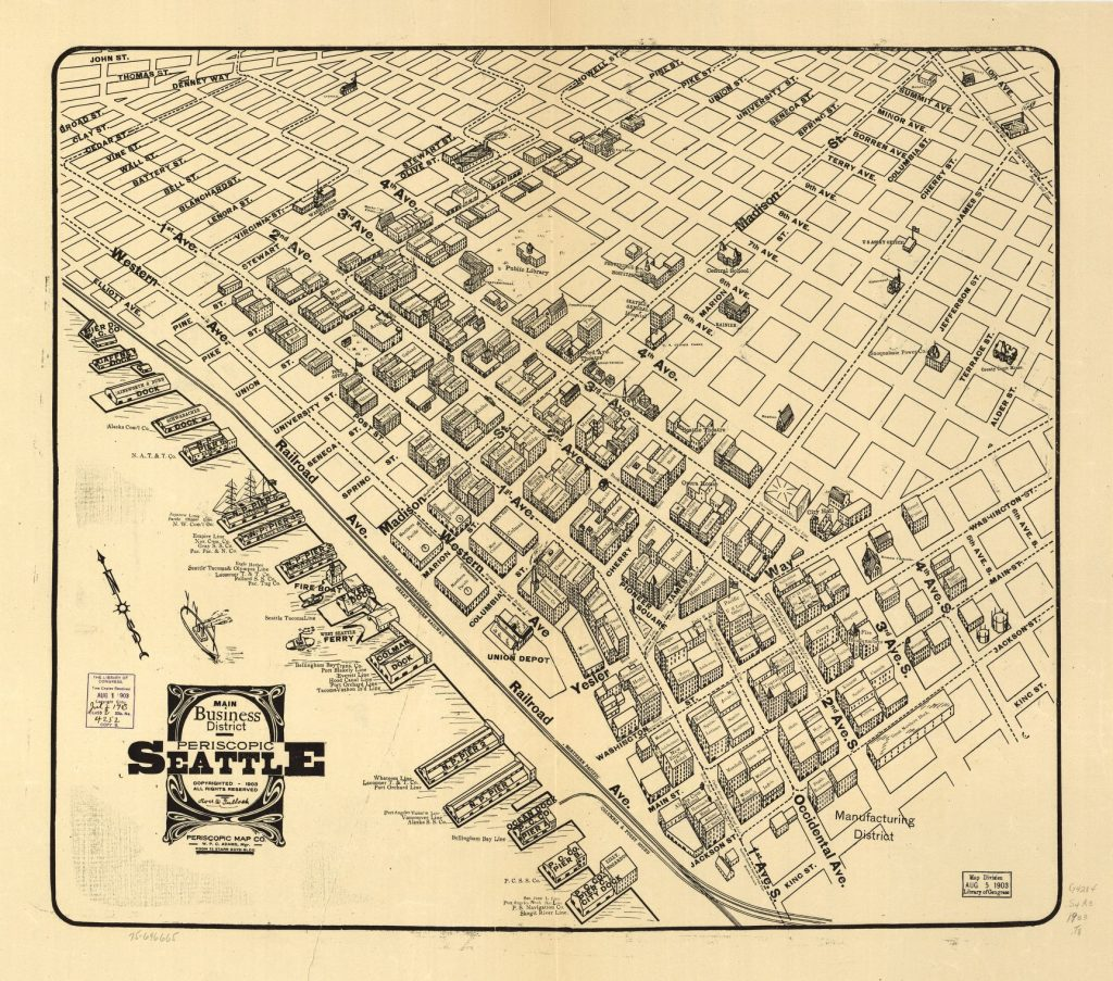 Map showing streets and buildings in downtown Seattle