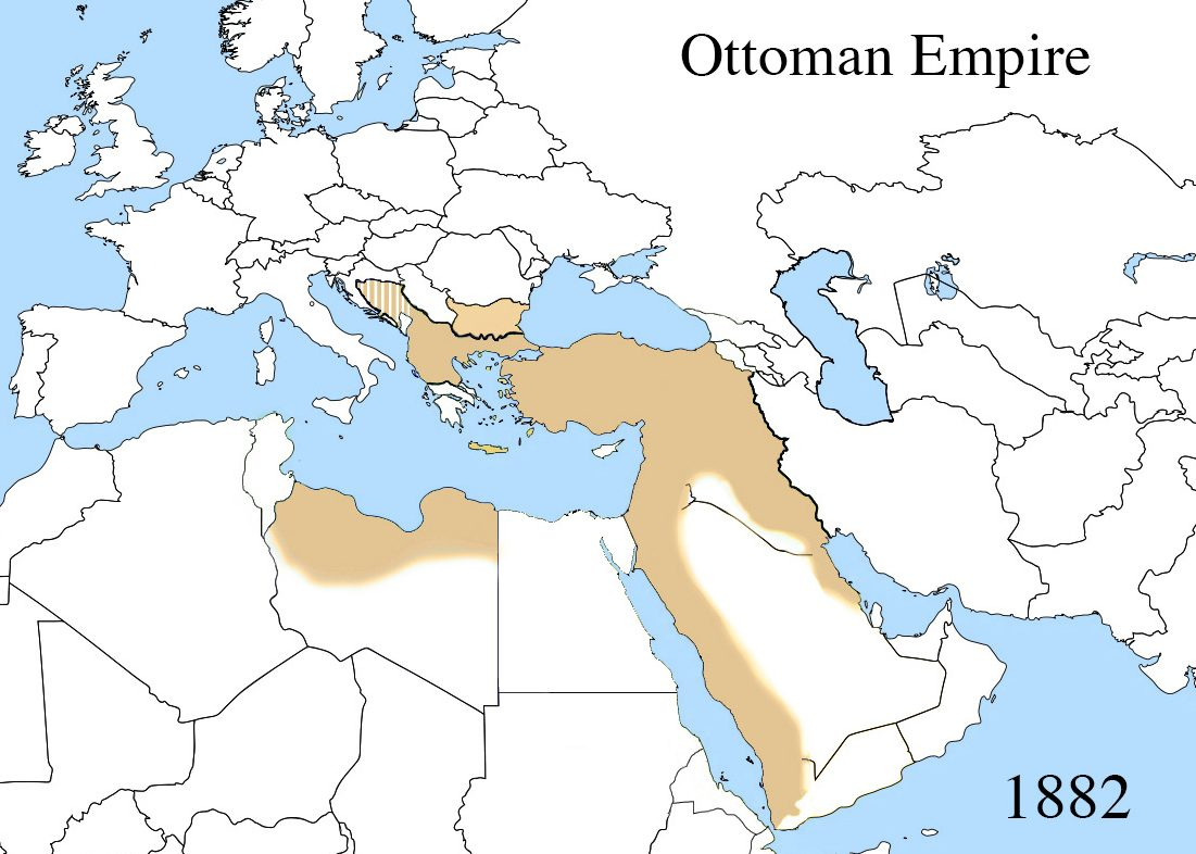 Map indicating western Mediterranean, parts of North Africa, and long coastal sections of the Middle East