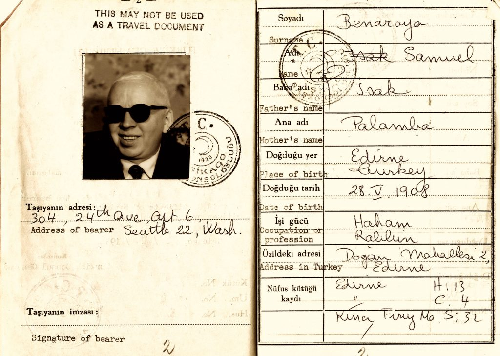 Samuel Benaroya's ID card with a photo of him on the left and his information on the right, handwritten in cursive letters.