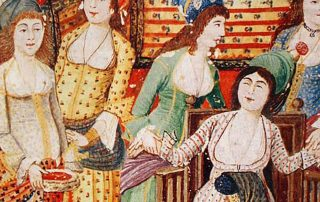 Color illustration showing women, including a midwive, attending to a woman giving birth