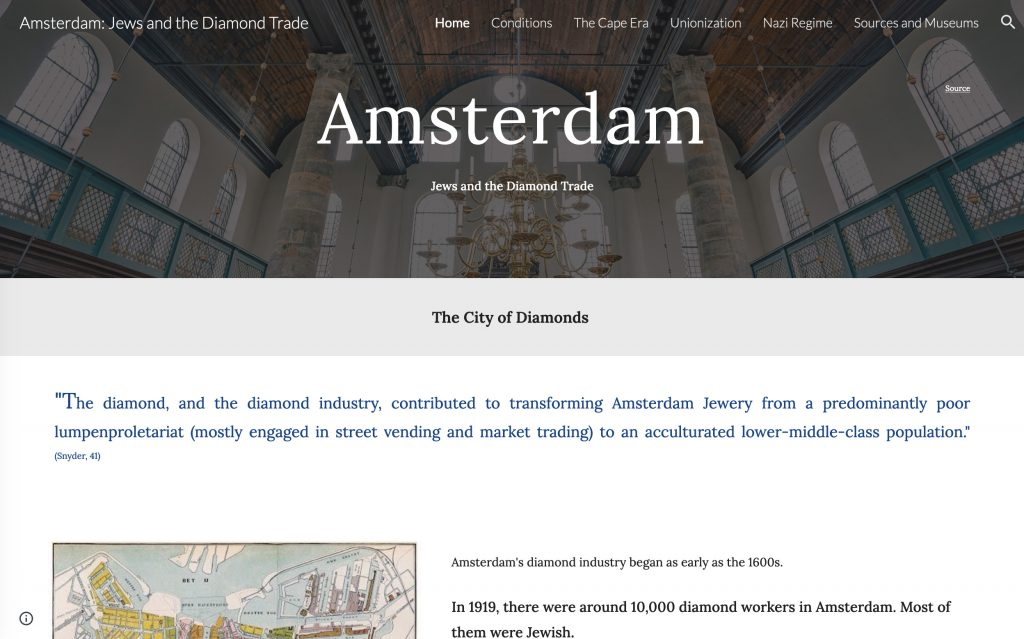 """Screencap of website homepage with """"Amsterdam"""" in its top banner"""
