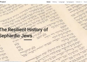 """Screencap of website homepage with """"Resilient History of Sephardic Jews"""" in its top banner"""