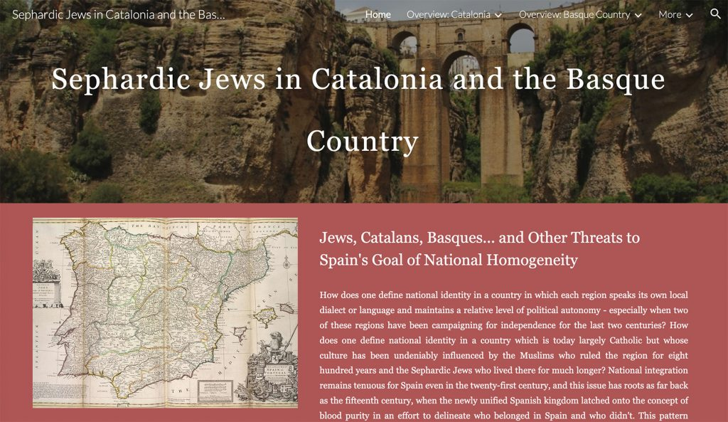 """Screencap of website homepage with """"Sephardic Jews in Catalonia and the Basque"""" in its top banner"""