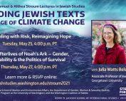 Banner showing event information & portrait of Julia Watts Belser