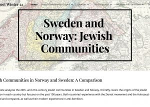 """Screencap of website homepage with """"Sweden and Norway: Jewish Communities"""" in its top banner"""