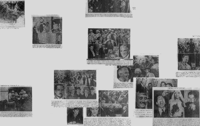 Photos of groups of people from historic Ladino newspapers