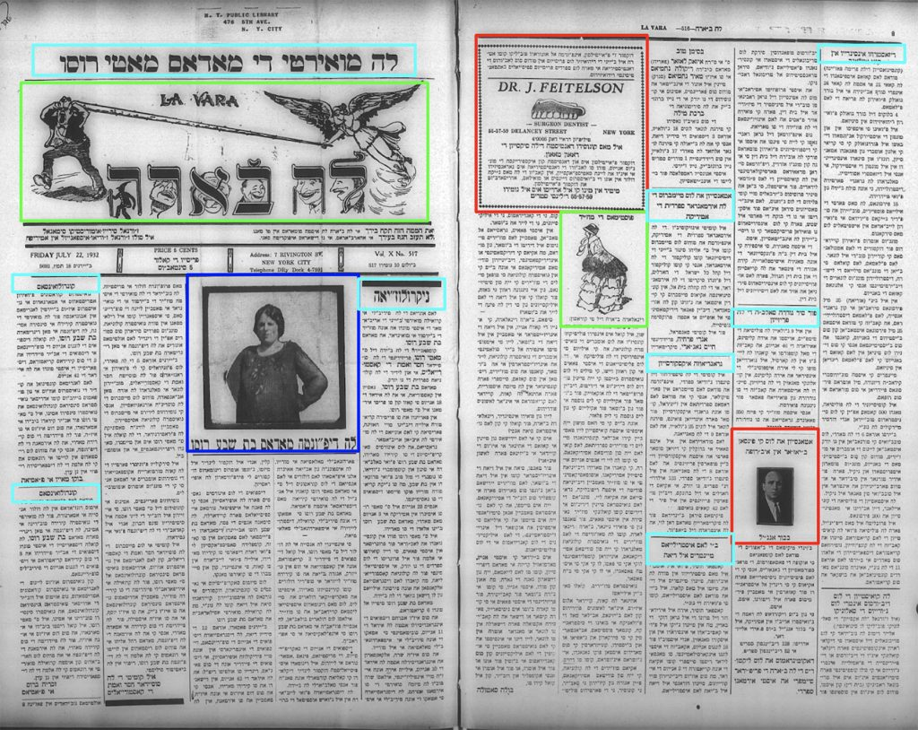 Two pages of the La Vara newspaper, with colored bounding boxes placed around headlines and images